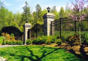 commercial ornamental entry gate fence