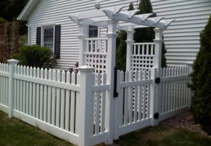 residential Georgia picket with arbor pvc fence
