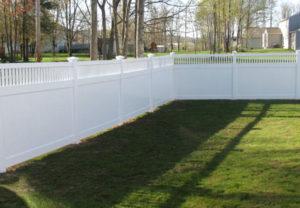 residential arizona straight pvc white fence