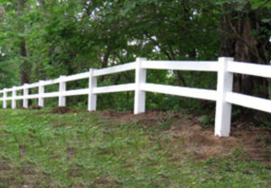 residential post and rail - 3 rail pvc fence