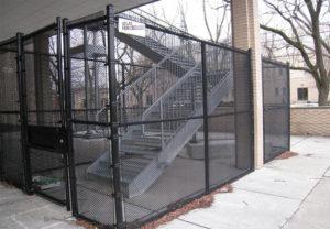 black vinyl coated chain link stairway security fence