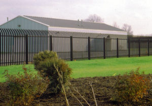 Ornamental Security Fence with bent top pickets