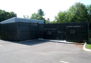 Chain Link Dumpster Enclosure fence with Privacy Slats