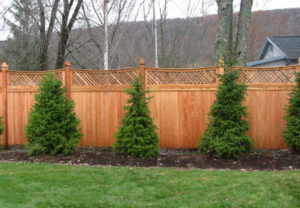 residential concave courtyard wood fence